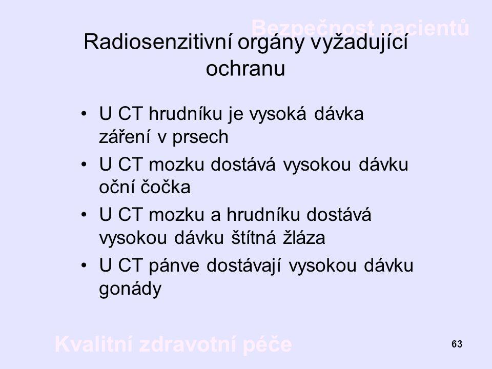 Bezpečnost pacientů Kvalitní zdravotní péče 63 Radiosenzitivní orgány vyžadující ochranu U CT hrudníku je vysoká dávka záření v prsech U CT mozku dost