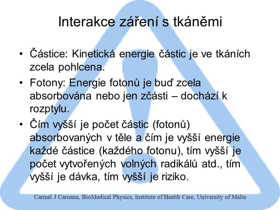 Carmel J Caruana, BioMedical Physics, Institute of Health Care, University of Malta Interakce záření s tkáněmi Částice: Kinetická energie částic je ve tkáních zcela pohlcena.