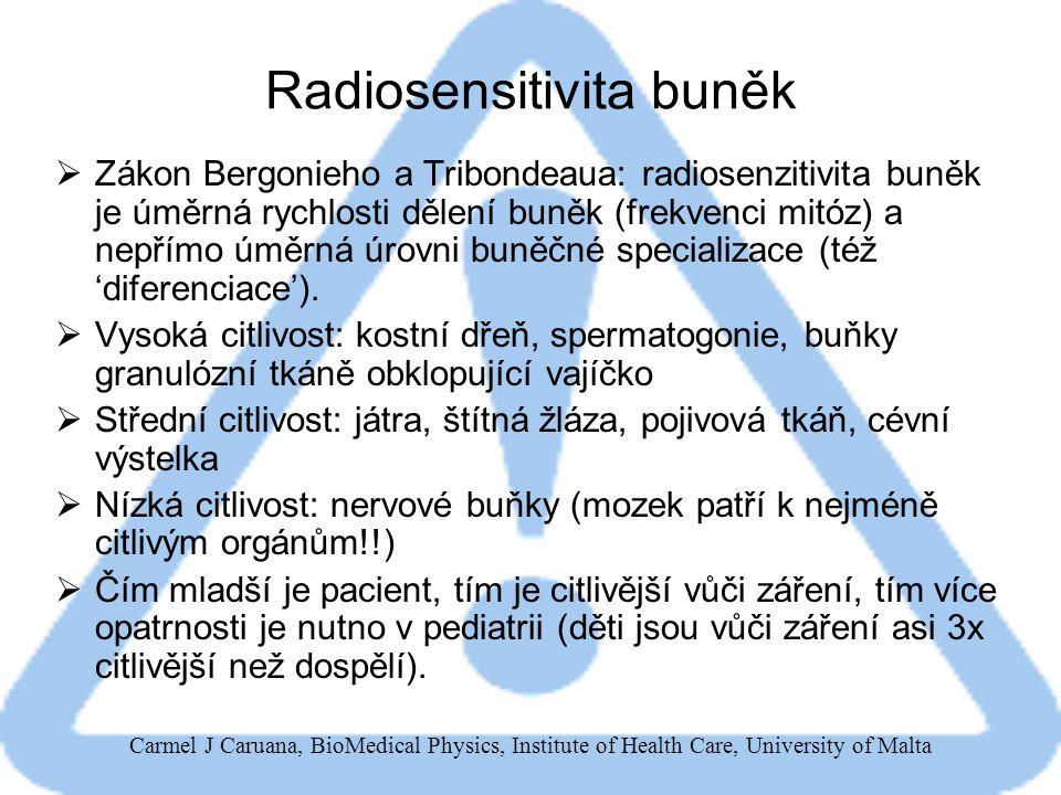 Carmel J Caruana, BioMedical Physics, Institute of Health Care, University of Malta Radiosensitivita buněk  Zákon Bergonieho a Tribondeaua: radiosenzitivita buněk je úměrná rychlosti dělení buněk (frekvenci mitóz) a nepřímo úměrná úrovni buněčné specializace (též 'diferenciace').