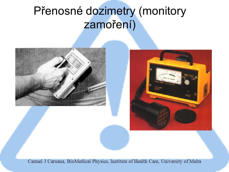 Carmel J Caruana, BioMedical Physics, Institute of Health Care, University of Malta Přenosné dozimetry (monitory zamoření)