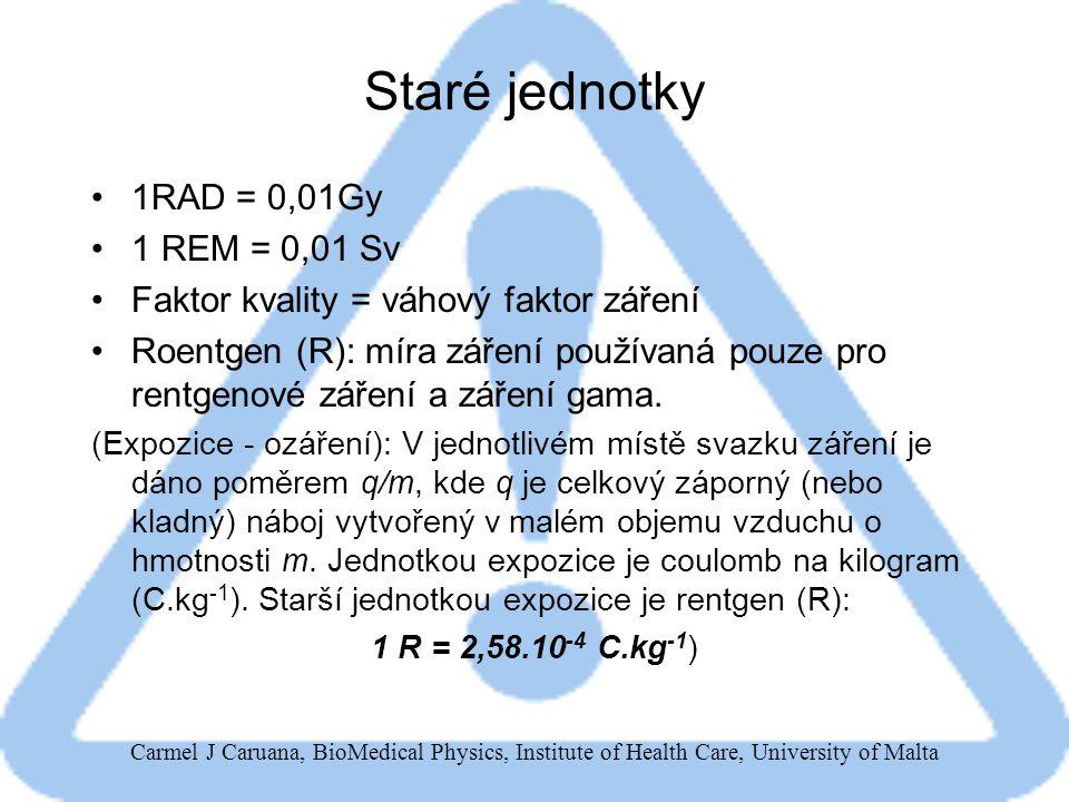Carmel J Caruana, BioMedical Physics, Institute of Health Care, University of Malta Staré jednotky 1RAD = 0,01Gy 1 REM = 0,01 Sv Faktor kvality = váhový faktor záření Roentgen (R): míra záření používaná pouze pro rentgenové záření a záření gama.