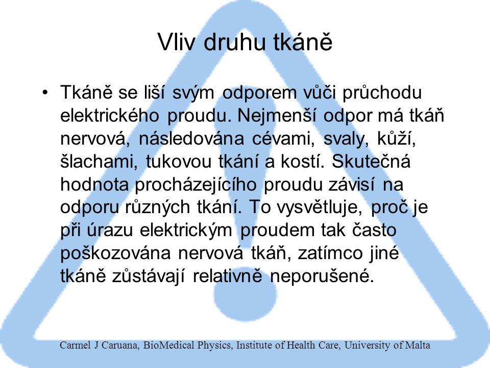 """Carmel J Caruana, BioMedical Physics, Institute of Health Care, University of Malta Prahové hodnoty proudu pro různé fyziologické účinky 1mA: práh vnímání 5 – 10 mA: maximální hodnota """"neškodného proudu 10 – 20 mA: křečovitá svalová kontrakce (""""nelze se pustit ) 50 mA: bolest, omdlévání 100 – 300 mA: fibrilace komor (nekoordinované stahy svaloviny komor) vedoucí k nedostatečnému zásobení mozku či jiných orgánů krví – obvyklá příčina smrti při elektrickém úrazu."""