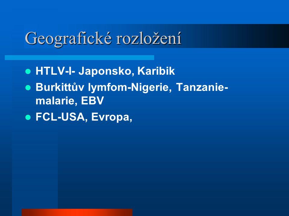 Geografické rozložení HTLV-I- Japonsko, Karibik Burkittův lymfom-Nigerie, Tanzanie- malarie, EBV FCL-USA, Evropa,