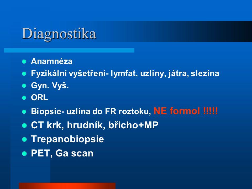 Diagnostika Anamnéza Fyzikální vyšetření- lymfat. uzliny, játra, slezina Gyn. Vyš. ORL Biopsie- uzlina do FR roztoku, NE formol !!!!! CT krk, hrudník,