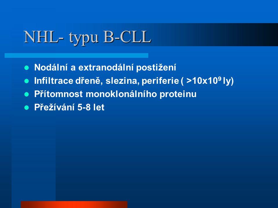 NHL- typu B-CLL Nodální a extranodální postižení Infiltrace dřeně, slezina, periferie ( >10x10 9 ly) Přítomnost monoklonálního proteinu Přežívání 5-8 let