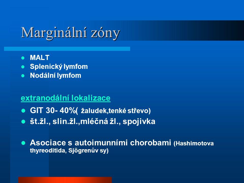 Marginální zóny MALT Splenický lymfom Nodální lymfom extranodální lokalizace GIT 30- 40%( žaludek,tenké střevo) št.žl., slin.žl.,mléčná žl., spojivka