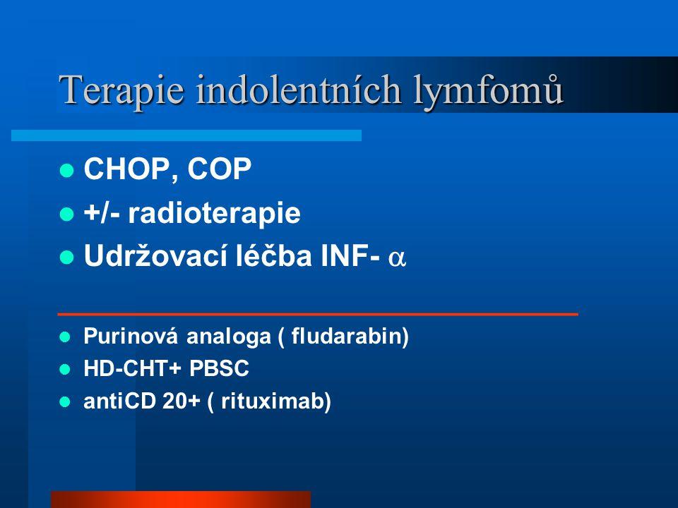 Terapie indolentních lymfomů CHOP, COP +/- radioterapie Udržovací léčba INF-  _______________________________ Purinová analoga ( fludarabin) HD-CHT+ PBSC antiCD 20+ ( rituximab)