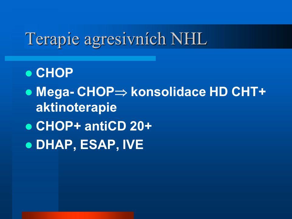 Terapie agresivních NHL CHOP Mega- CHOP  konsolidace HD CHT+ aktinoterapie CHOP+ antiCD 20+ DHAP, ESAP, IVE