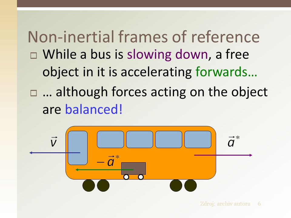 Zdroj: archiv autora6 Non-inertial frames of reference  While a bus is slowing down, a free object in it is accelerating forwards…  … although forces acting on the object are balanced!