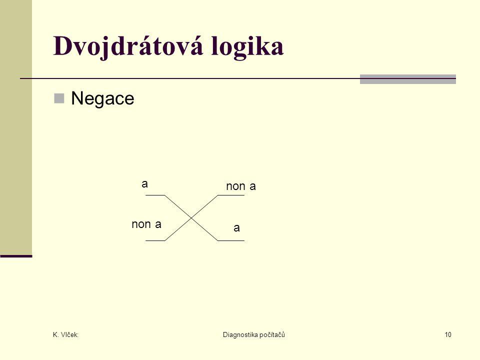 K. Vlček: Diagnostika počítačů10 Dvojdrátová logika Negace non a a a