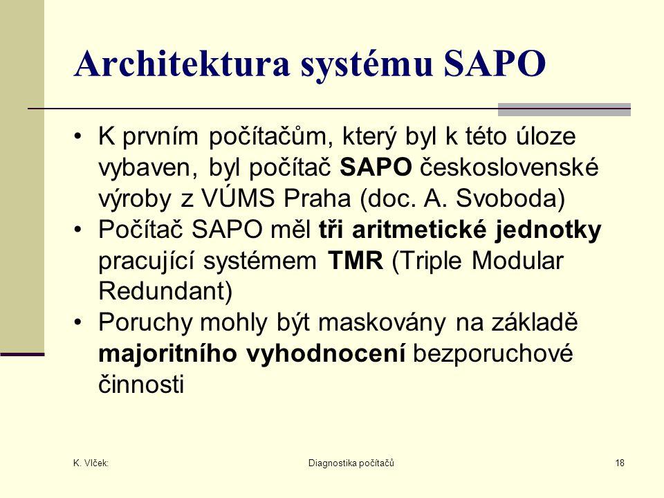 K. Vlček: Diagnostika počítačů18 Architektura systému SAPO K prvním počítačům, který byl k této úloze vybaven, byl počítač SAPO československé výroby