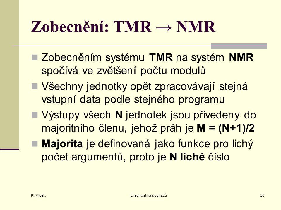 K. Vlček: Diagnostika počítačů20 Zobecnění: TMR → NMR Zobecněním systému TMR na systém NMR spočívá ve zvětšení počtu modulů Všechny jednotky opět zpra