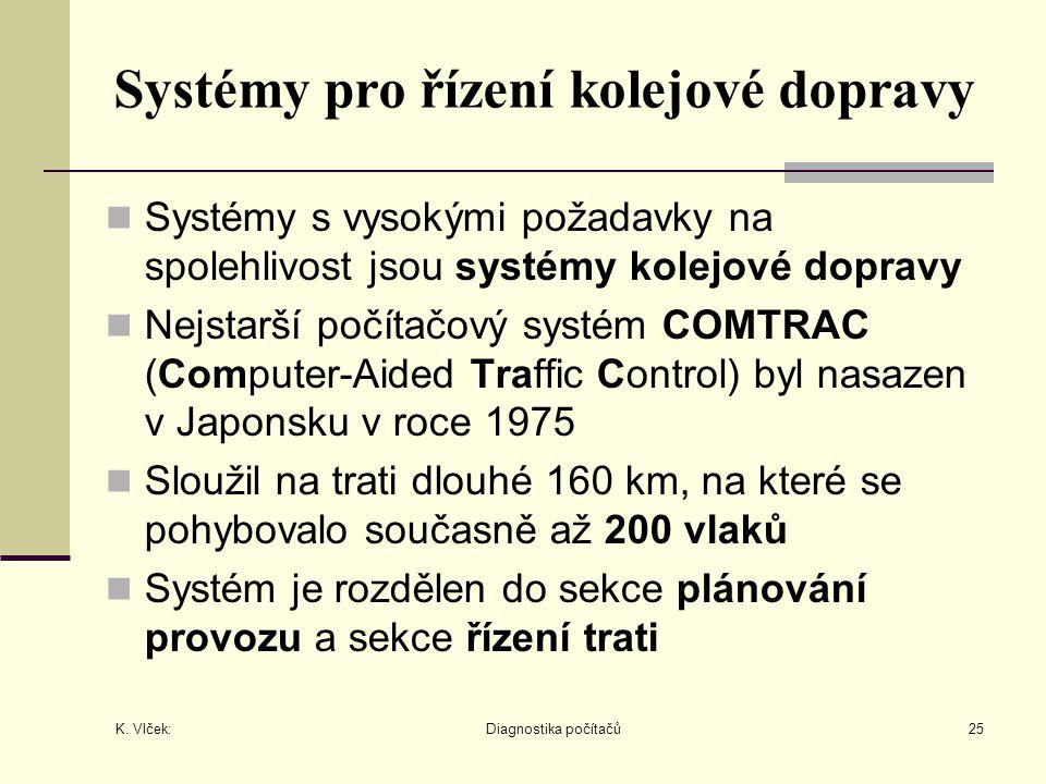 K. Vlček: Diagnostika počítačů25 Systémy pro řízení kolejové dopravy Systémy s vysokými požadavky na spolehlivost jsou systémy kolejové dopravy Nejsta