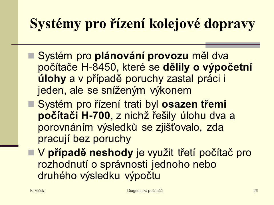 K. Vlček: Diagnostika počítačů26 Systémy pro řízení kolejové dopravy Systém pro plánování provozu měl dva počítače H-8450, které se dělily o výpočetní