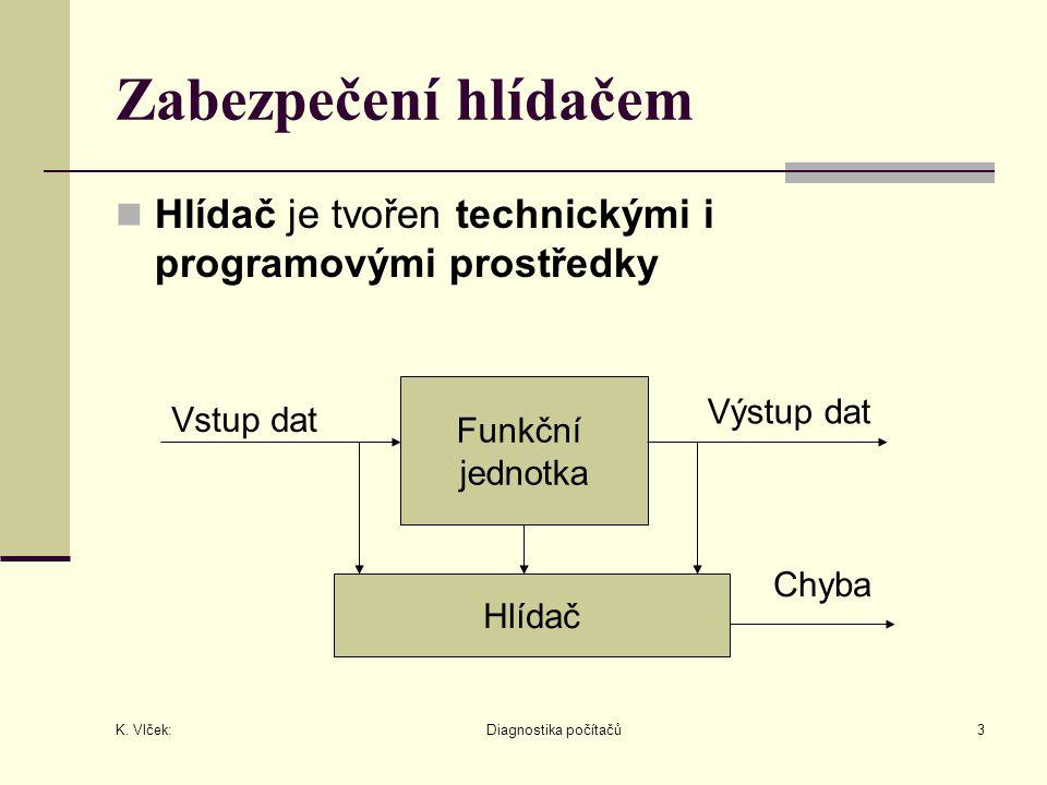 K. Vlček: Diagnostika počítačů3 Zabezpečení hlídačem Hlídač je tvořen technickými i programovými prostředky Funkční jednotka Hlídač Vstup dat Výstup d
