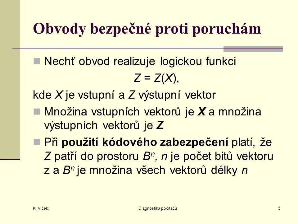K. Vlček: Diagnostika počítačů5 Obvody bezpečné proti poruchám Nechť obvod realizuje logickou funkci Z = Z(X), kde X je vstupní a Z výstupní vektor Mn