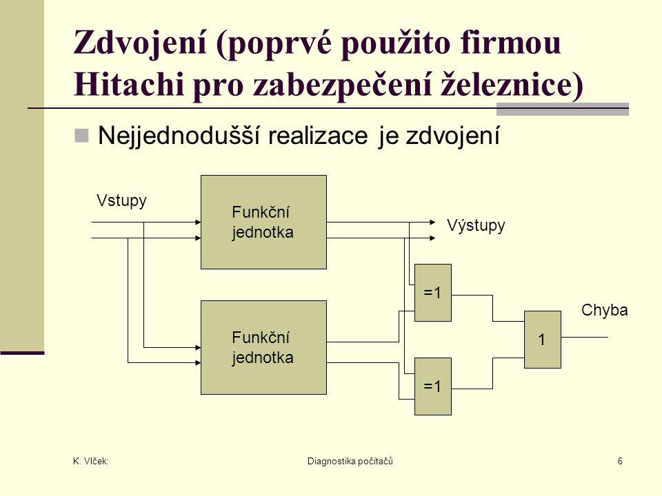 K. Vlček: Diagnostika počítačů6 Zdvojení (poprvé použito firmou Hitachi pro zabezpečení železnice) Nejjednodušší realizace je zdvojení Funkční jednotk