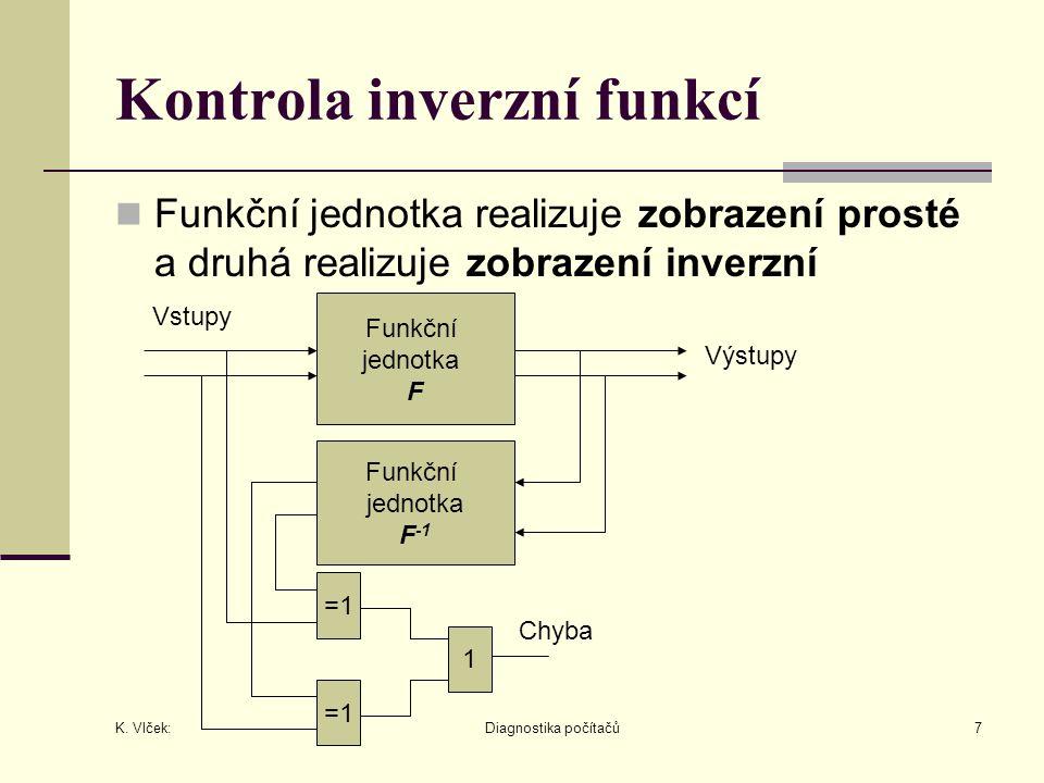 K. Vlček: Diagnostika počítačů7 Kontrola inverzní funkcí Funkční jednotka realizuje zobrazení prosté a druhá realizuje zobrazení inverzní Funkční jedn