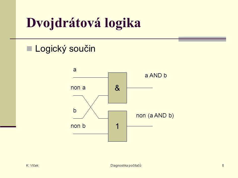 K. Vlček: Diagnostika počítačů8 Dvojdrátová logika Logický součin non b & 1 a non a b a AND b non (a AND b)