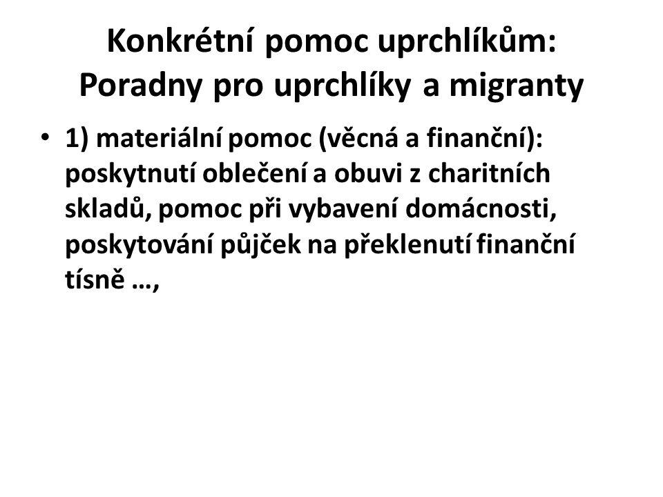 Konkrétní pomoc uprchlíkům: Poradny pro uprchlíky a migranty 1) materiální pomoc (věcná a finanční): poskytnutí oblečení a obuvi z charitních skladů,