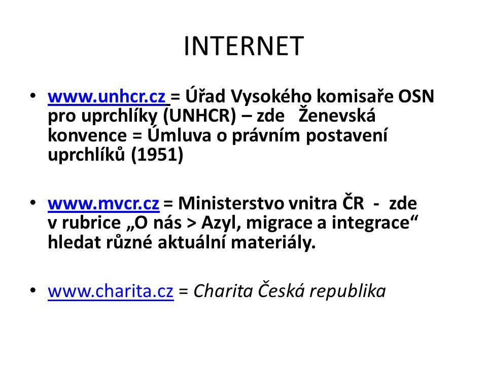 INTERNET www.unhcr.cz = Úřad Vysokého komisaře OSN pro uprchlíky (UNHCR) – zde Ženevská konvence = Úmluva o právním postavení uprchlíků (1951) www.unh