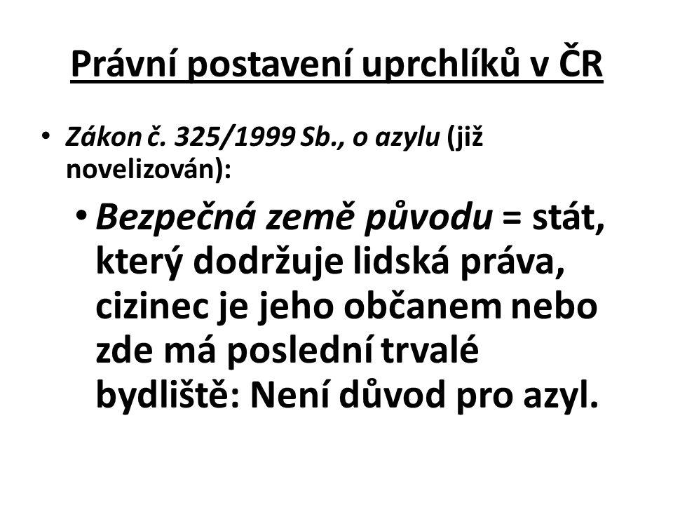 Bezpečná třetí země = stát, který dodržuje lidská práva, cizinec sice není občanem tohoto státu ani tam nemá poslední trvalé bydliště, ale pobýval v něm před vstupem do ČR: Může se do něj vrátit a požádat o azyl.