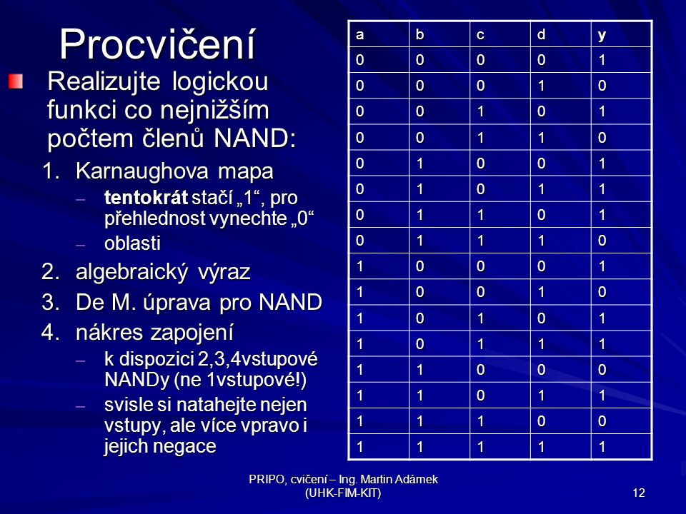 PRIPO, cvičení – Ing. Martin Adámek (UHK-FIM-KIT) 12Procvičení Realizujte logickou funkci co nejnižším počtem členů NAND: 1.Karnaughova mapa – tentokr