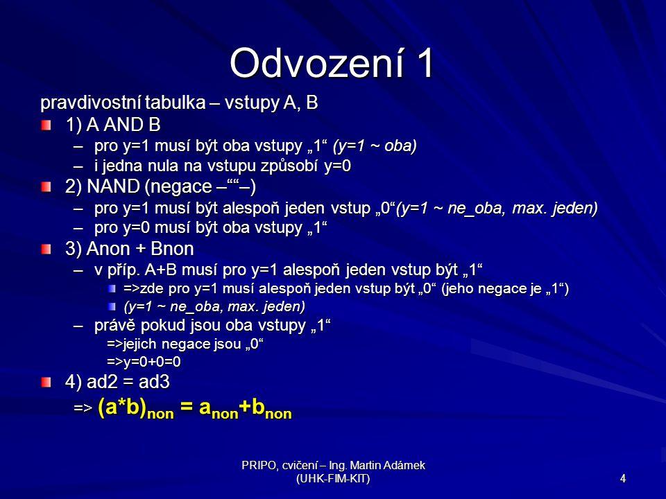 """PRIPO, cvičení – Ing. Martin Adámek (UHK-FIM-KIT) 4 Odvození 1 pravdivostní tabulka – vstupy A, B 1) A AND B –pro y=1 musí být oba vstupy """"1"""" (y=1 ~ o"""