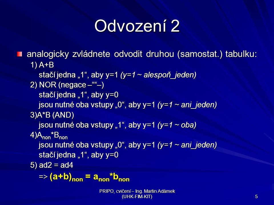 """PRIPO, cvičení – Ing. Martin Adámek (UHK-FIM-KIT) 5 Odvození 2 analogicky zvládnete odvodit druhou (samostat.) tabulku: 1) A+B stačí jedna """"1"""", aby y="""