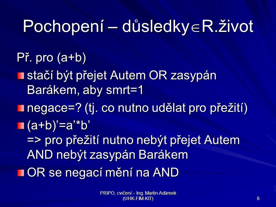 PRIPO, cvičení – Ing.Martin Adámek (UHK-FIM-KIT) 8 Pochopení – důsledky  R.život Př.