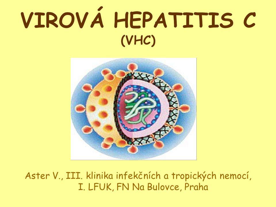 """Virová hepatitida C-histologie Histologie: zánět v portální oblasti, lymfoidní agregáty, mírné periportální piecemeal nekrózy, může být přítomna steatóza (""""ztukovatění jater ), apoptóza, mírný lobulární zánět."""