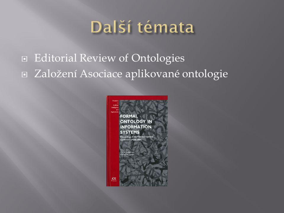  Editorial Review of Ontologies  Založení Asociace aplikované ontologie
