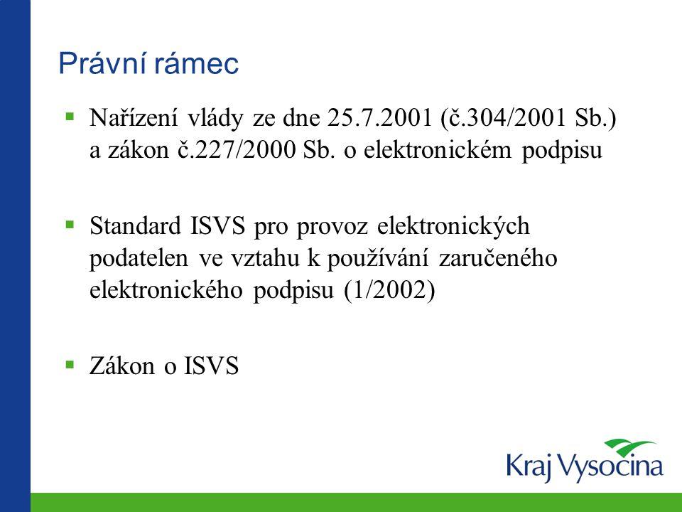Právní rámec  Nařízení vlády ze dne 25.7.2001 (č.304/2001 Sb.) a zákon č.227/2000 Sb. o elektronickém podpisu  Standard ISVS pro provoz elektronický