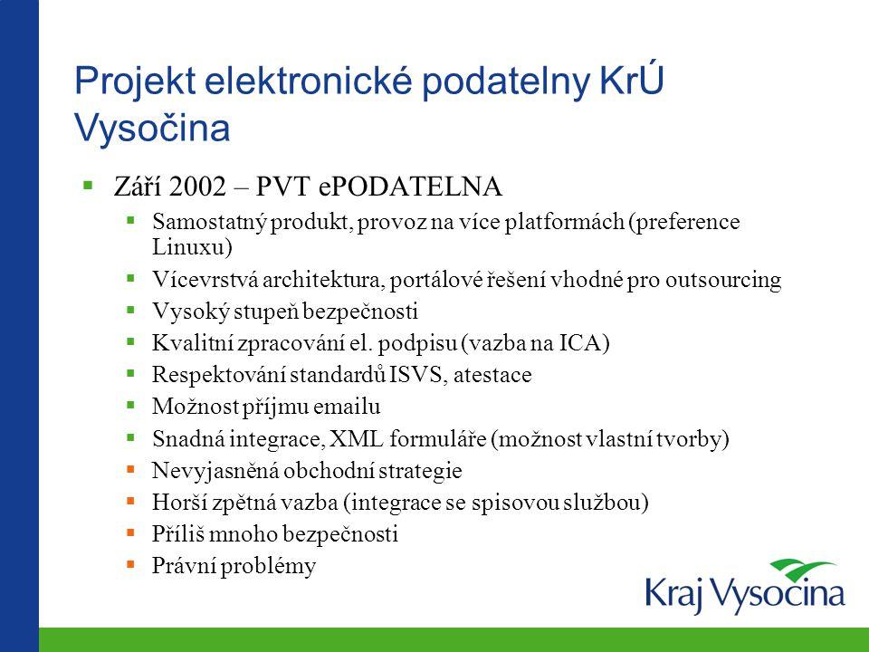 Projekt elektronické podatelny KrÚ Vysočina  Září 2002 – PVT ePODATELNA  Samostatný produkt, provoz na více platformách (preference Linuxu)  Vícevr