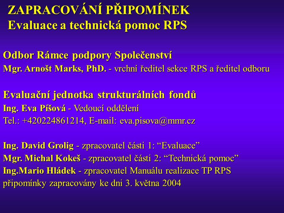ZAPRACOVÁNÍ PŘIPOMÍNEK Evaluace a technická pomoc RPS Odbor Rámce podpory Společenství Mgr. Arnošt Marks, PhD. - vrchní ředitel sekce RPS a ředitel od