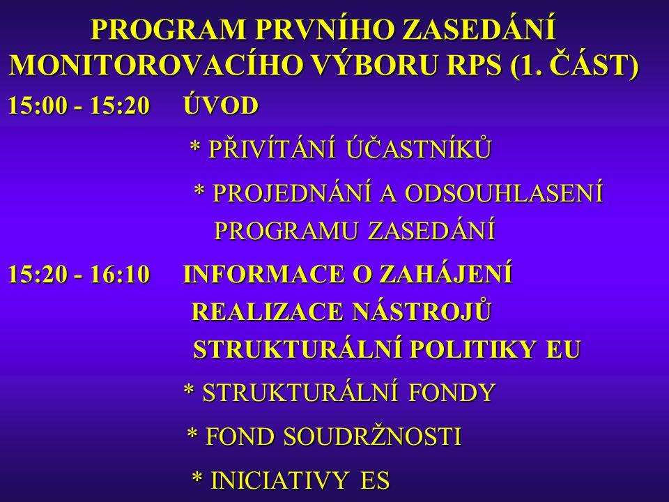 PROGRAM PRVNÍHO ZASEDÁNÍ MONITOROVACÍHO VÝBORU RPS (2.