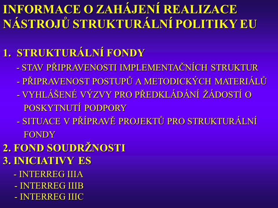 INFORMACE O ZAHÁJENÍ REALIZACE NÁSTROJŮ STRUKTURÁLNÍ POLITIKY EU 1.STRUKTURÁLNÍ FONDY - STAV PŘIPRAVENOSTI IMPLEMENTAČNÍCH STRUKTUR - PŘIPRAVENOST POS