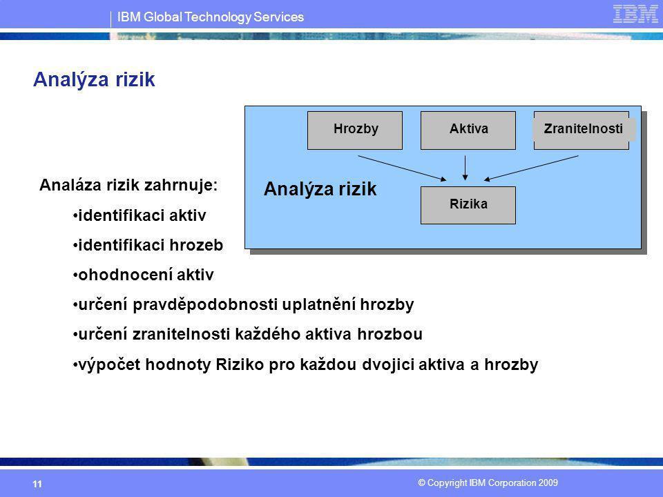 IBM Global Technology Services © Copyright IBM Corporation 2009 11 Analýza rizik Analáza rizik zahrnuje: identifikaci aktiv identifikaci hrozeb ohodno