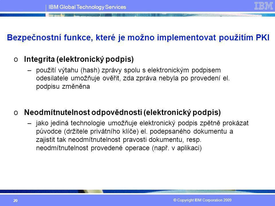 IBM Global Technology Services © Copyright IBM Corporation 2009 20 oIntegrita (elektronický podpis) –použití výtahu (hash) zprávy spolu s elektronický