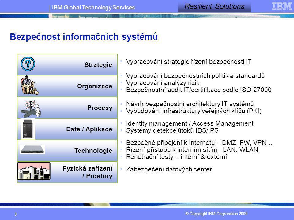 IBM Global Technology Services © Copyright IBM Corporation 2009 3 Bezpečnost informačních systémů Technologie Procesy Data / Aplikace Fyzická zařízení
