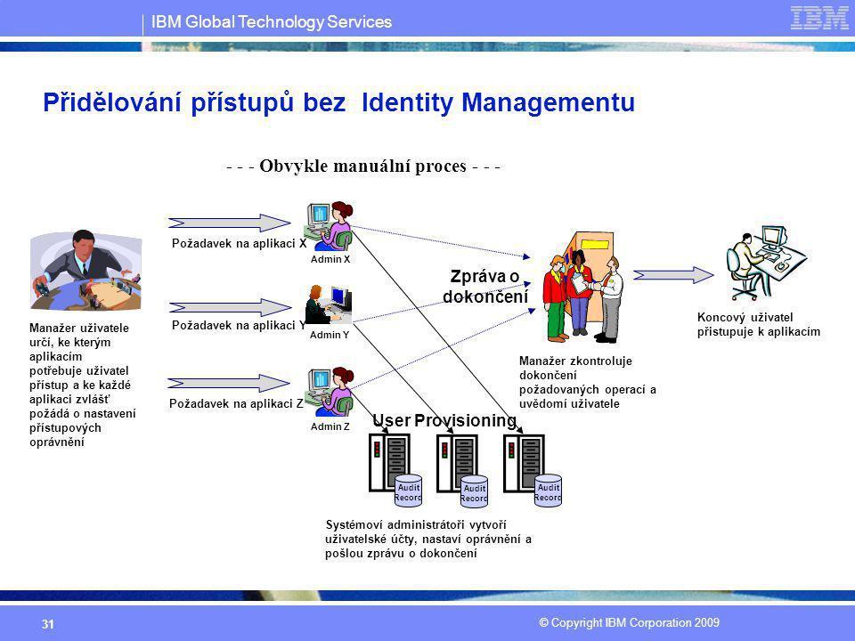 IBM Global Technology Services © Copyright IBM Corporation 2009 31 Přidělování přístupů bez Identity Managementu Manažer uživatele určí, ke kterým apl