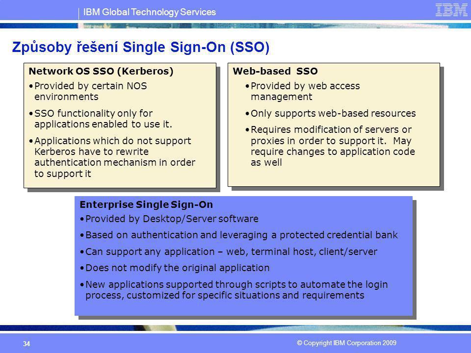 IBM Global Technology Services © Copyright IBM Corporation 2009 34 Způsoby řešení Single Sign-On (SSO) Provided by certain NOS environments SSO functi