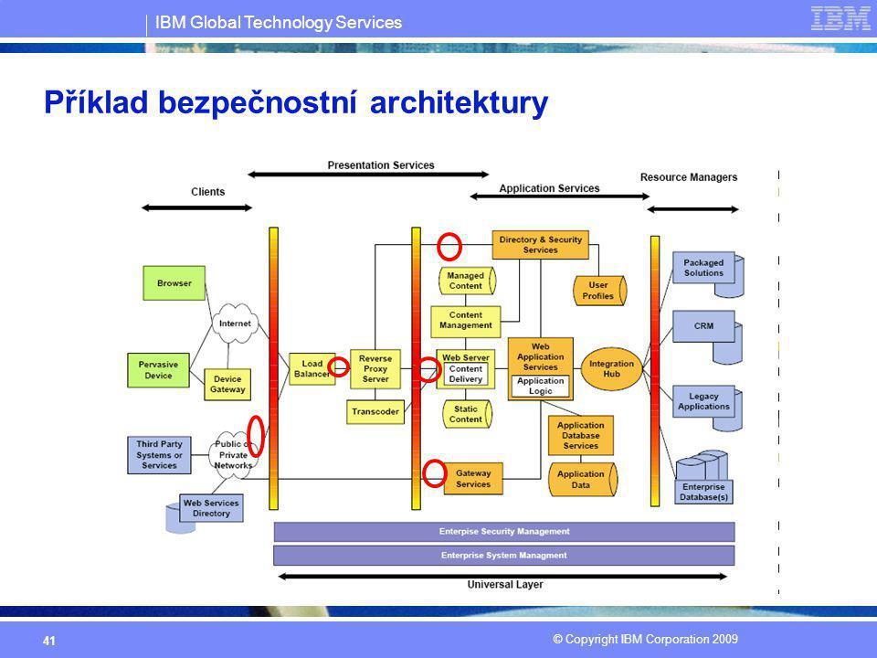 IBM Global Technology Services © Copyright IBM Corporation 2009 41 Příklad bezpečnostní architektury