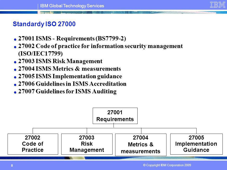 IBM Global Technology Services © Copyright IBM Corporation 2009 8 Standardy ISO 27000 27001 ISMS - Requirements (BS7799-2) 27001 ISMS - Requirements (BS7799-2) 27002 Code of practice for information security management (ISO/IEC17799) 27002 Code of practice for information security management (ISO/IEC17799) 27003 ISMS Risk Management 27003 ISMS Risk Management 27004 ISMS Metrics & measurements 27004 ISMS Metrics & measurements 27005 ISMS Implementation guidance 27005 ISMS Implementation guidance 27006 Guidelines in ISMS Accreditation 27006 Guidelines in ISMS Accreditation 27007 Guidelines for ISMS Auditing 27007 Guidelines for ISMS Auditing 27001 Requirements 27002 Code of Practice 27003 Risk Management 27005 Implementation Guidance 27004 Metrics & measurements