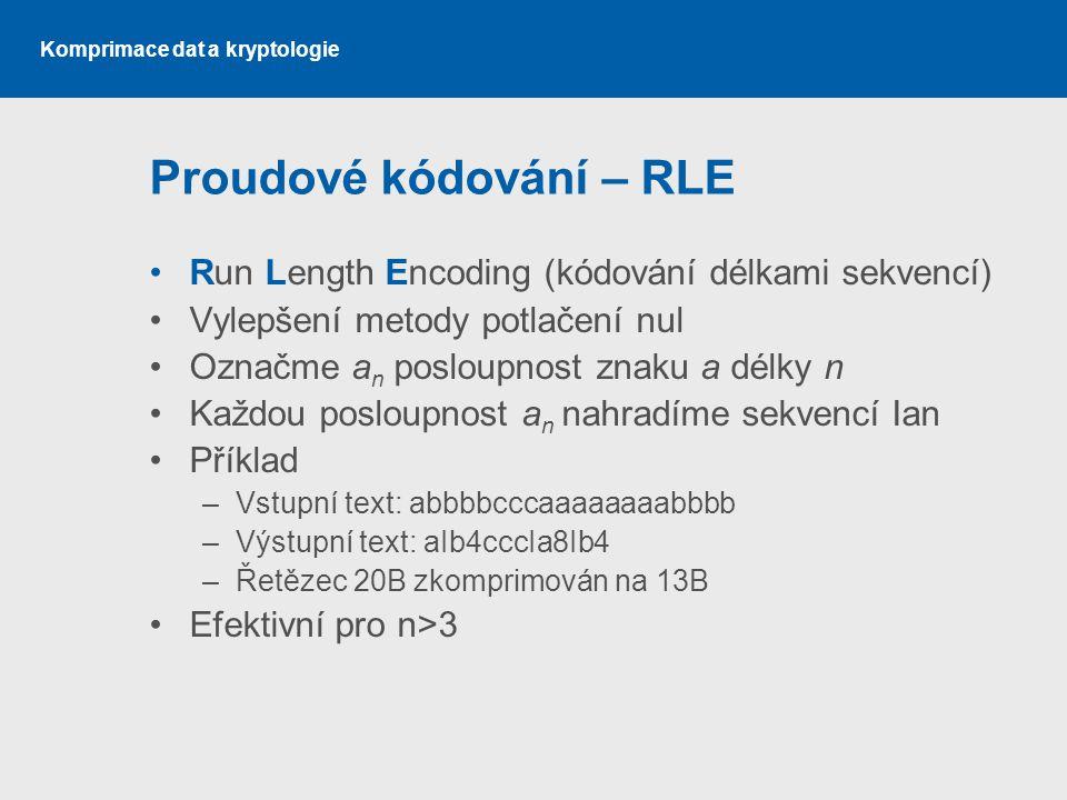 Komprimace dat a kryptologie Proudové kódování – RLE Run Length Encoding (kódování délkami sekvencí) Vylepšení metody potlačení nul Označme a n poslou