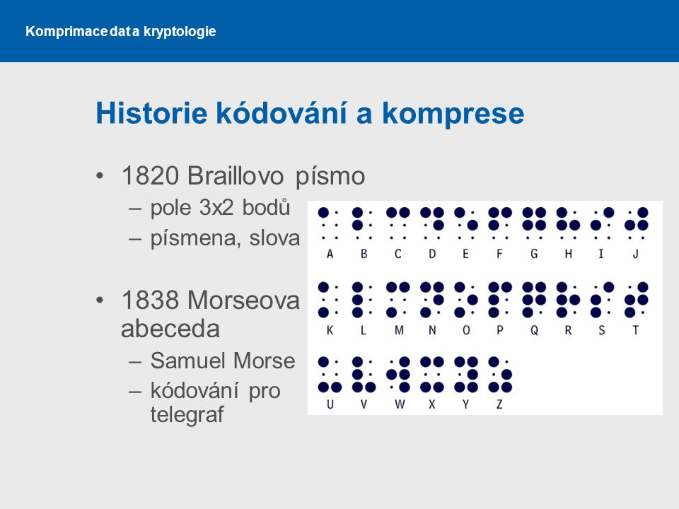 Komprimace dat a kryptologie Historie kódování a komprese 1820 Braillovo písmo –pole 3x2 bodů –písmena, slova 1838 Morseova abeceda –Samuel Morse –kód