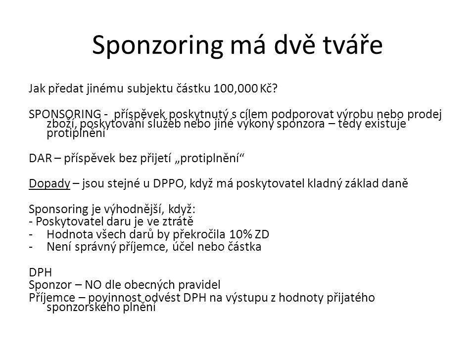 Sponzoring má dvě tváře Jak předat jinému subjektu částku 100,000 Kč.
