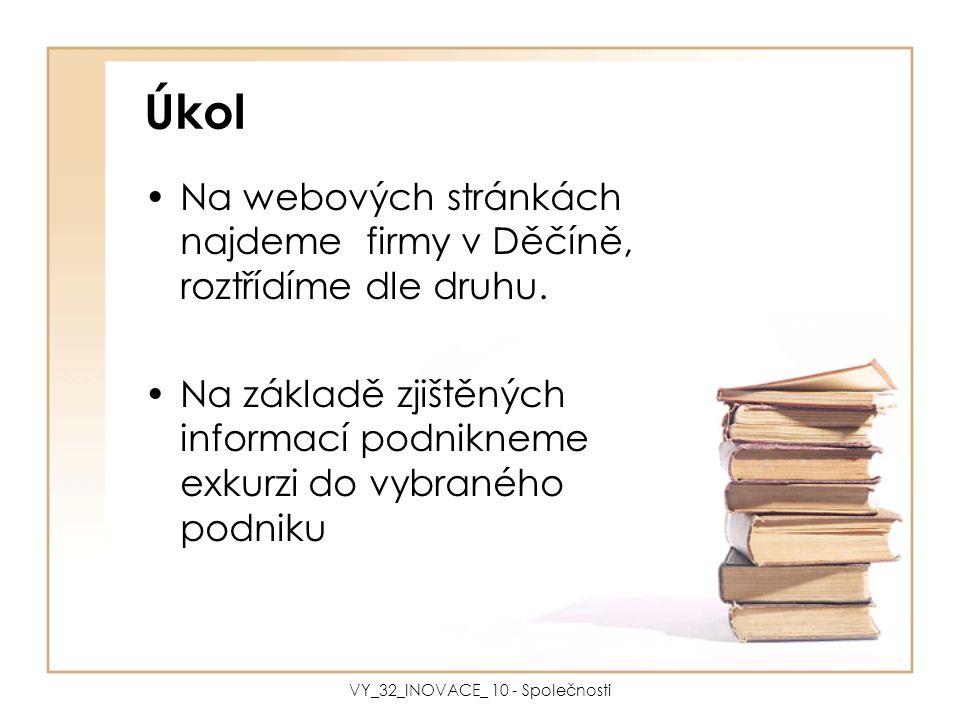 Úkol Na webových stránkách najdeme firmy v Děčíně, roztřídíme dle druhu. Na základě zjištěných informací podnikneme exkurzi do vybraného podniku VY_32