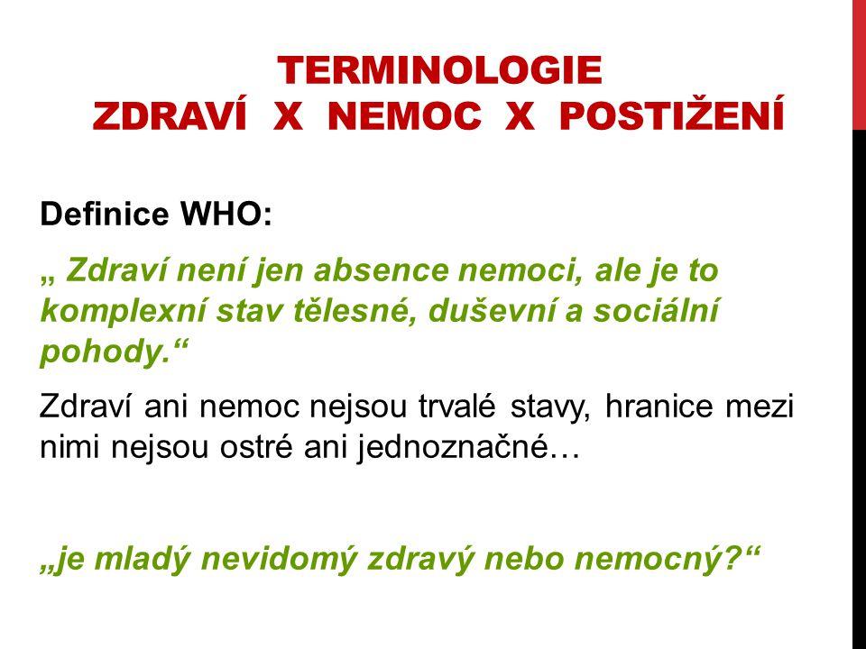 """TERMINOLOGIE ZDRAVÍ X NEMOC X POSTIŽENÍ Definice WHO: """" Zdraví není jen absence nemoci, ale je to komplexní stav tělesné, duševní a sociální pohody."""""""