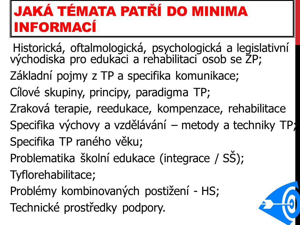 SAMOSTUDIUM Oftalmologické minimum: Jesenský (ed.) Prolegomena systému tyflorehabilitace, 2007.
